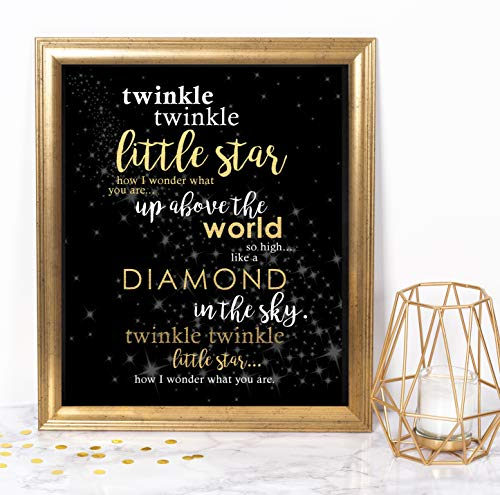 Katie Doodle Twinkle Twinkle Little Star Decorations for Baby Shower, Birthday, Gender Reveal Party Supplies | Includes 8x10 Sign [Unframed], BW003, Black/Gold ()