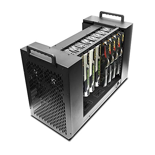 Hydra VII Modular Tower Case for 8 GPU Mining Rendering AI Servers, Dual PSU Ready