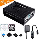 Smraza Compatible with Raspberry Pi 4 Case, Acrylic Case with Cooling Fan, Heatsinks, 5V 3A USB-C Power Supply for Raspberry Pi 4 Model B (RPI 4 Board Not Included) - Black
