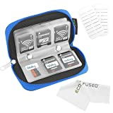 Eco-Fused 8 Pages and 22 Slots Memory Card Carrying Case with Microfiber Cleaning Cloth - Blue