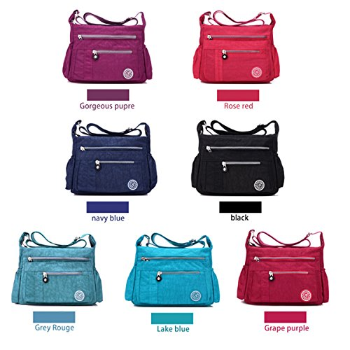Gorgeous Pocket Mutil Zipper Bags Grey Shoulder Women Nylon Handbag Crossbody for Rouge Waterproof Purple Flada 8qHCnPq