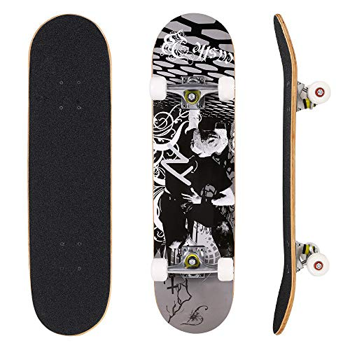 YUEBO Skateboard 31″ x 8″ Complete PRO Skateboard, Double Kick Concave Design 9 Layer Canadian Maple Wood Adult Tricks Skate Board for 5 Up Years Old Beginner, Kids, Boys, Girls
