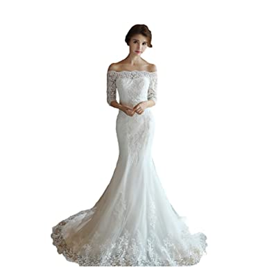 45f5c12a562 Wedding Dresses Half Sleeve Lace Applique Sweep Train White Mermaid Bridal  Gowns Plus Size at Amazon Women s Clothing store