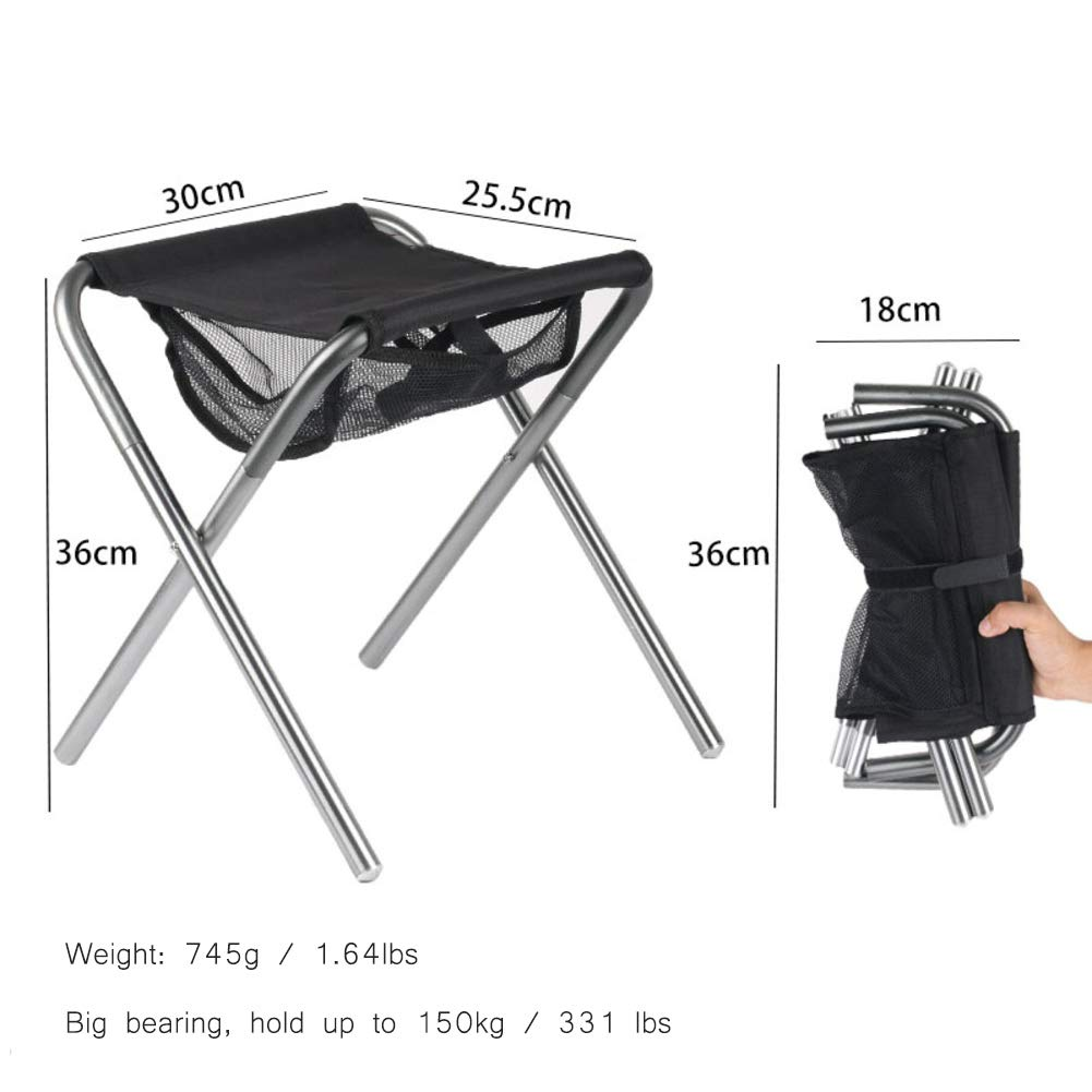 Silvery B Folding Camping Stool, Portable Aluminum Outdoor Lightweight Folding Chair Slacker Chair for BBQ,Camping,Fishing,Travel,Hiking,Garden,Beach-Silvery B