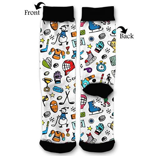 EKUIOP Socks Hockey Puck Vector Funny Fashion Novelty Advanced Moisture Wicking Sock for Man Women