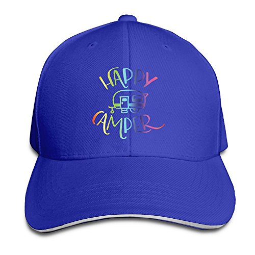 Happy Camper Men Newest Adjustable Peaked Cotton Baseball Trucker Cap RoyalBlue (22 Table Stake)