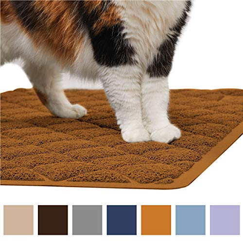 Gorilla Grip Original Premium Durable Cat Litter Mat, XL Jumbo, No Phthalate, Water Resistant, Traps Litter from Box and Cats, Scatter Control, Soft on Kitty Paws, Easy Clean Mats (Corner: Mocha)