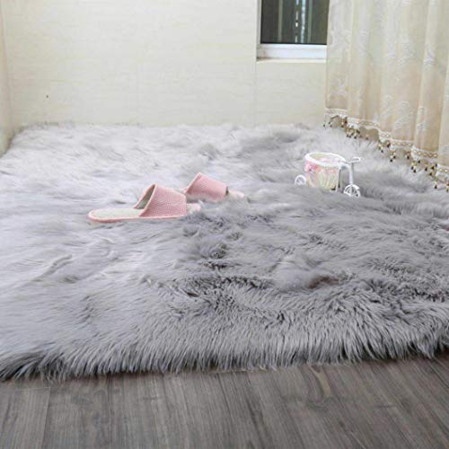 (Rectangle White/Gray Luxury Faux Fur Carpets for Living Room Soft Long Plush Seat Pad Sofa Bedroom Decoration)