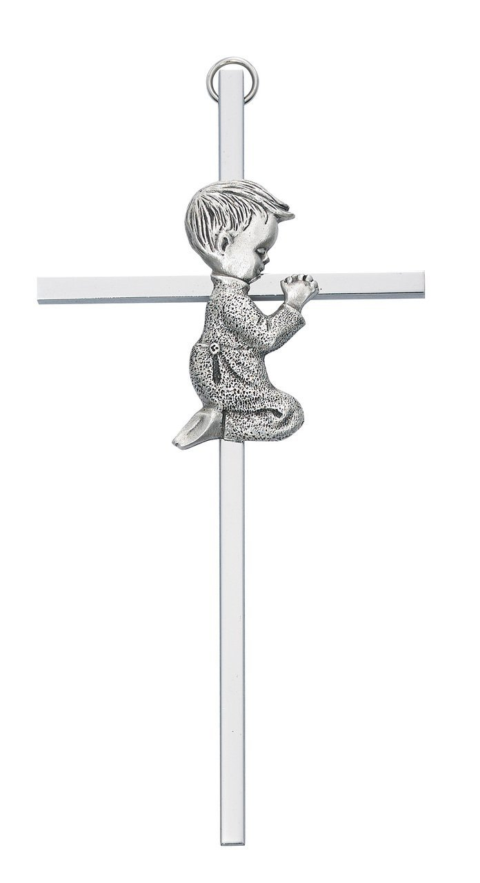 6 Silver BOY Wall Cross Baby Infant Christening Baptism Shower by KeegansCatholicTreasures