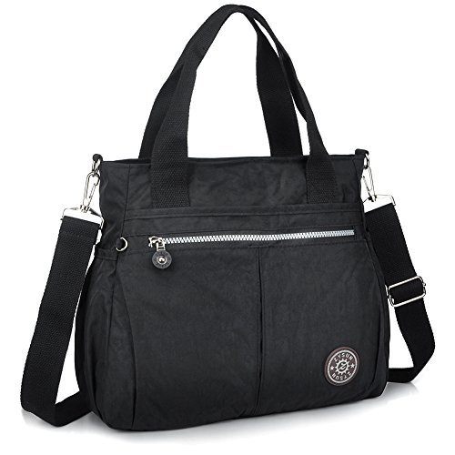 Tote Bag,Nylon Lightweight Handbags for Women with Multi-Pocketed by ZYSUN (1-black)