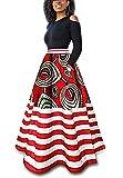 Runcati Womens African Maxi Skirt Dashiki Floral Print Striped Long A Line Ball Grown Skirt with Pockets