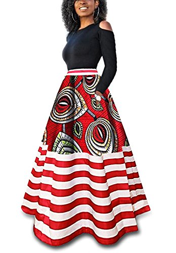 Runcati Womens African Maxi Skirt Dashiki Floral Print Striped Long A Line Ball Grown Skirt with Pockets by Runcati