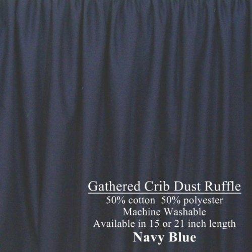 Navy Blue Crib Dust Ruffle 21 inch long Gathered Cribskirt