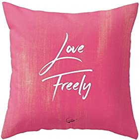 Love Freely Throw Pillows with Insert. Home Décor Red Pink Couch Pillows. Unique gift for her Inspirational Message Decorative Pillows sofa set. Perfect love Square Pillows (Faux Suede, 12x12 inch)