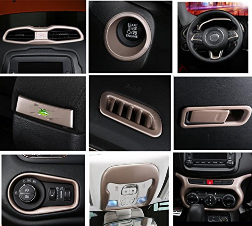 fmtoppeak 8色ABS自動内部パーツ装飾用12個/キットfor Jeep Renegade 2014 up FM-010432 B07BF53LYS シャンパンゴールド シャンパンゴールド