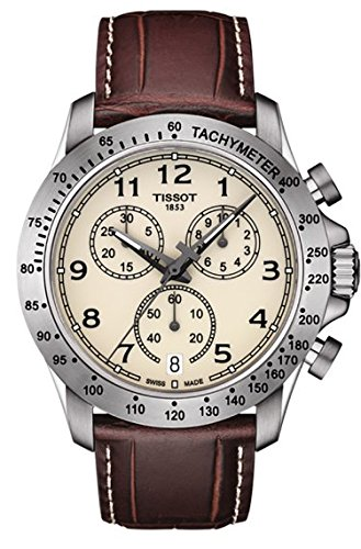Tissot T106.417.16.262.00 V8 Ivory / Brown Leather Analog Quartz Men's Watch