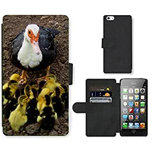 PU LEATHER case coque housse smartphone Flip bag Cover protection // M00129505 Pato Patos Animales de Granja Hierba // Apple iPhone 5 5S 5G