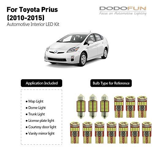 DODOFUN Deluxe Interior LED Light Kit for 2010-2015 Toyota Prius (13-pc Bulb 6000k)