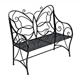 HLC Metal antique garden bench Outdoor Double Seat with Decorative Butterfly Cast Iron Backrest Review