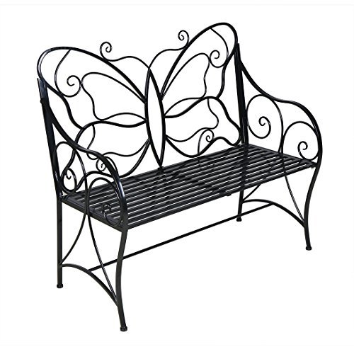 HLC Metal antique garden bench Outdoor Double Seat with Decorative Butterfly Cast Iron Backrest (Wrought Iron Outdoor Benches)