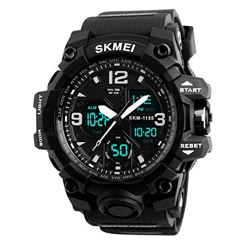 Mens Analog Digital LED 50M Waterproof Outdoor Sport Watch Military Multifunction Casual Dual Display 12H/24H Stopwatch…