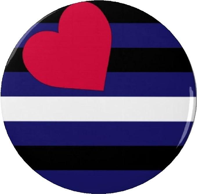 Leather Pride Flag Symbol W Heart 225 Large Button Pin Bondage