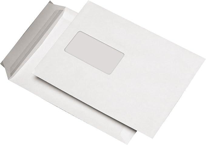 162x229mm 164 1000 Versandtaschen C5 mit Fenster nassklebend weiß//natur 80g