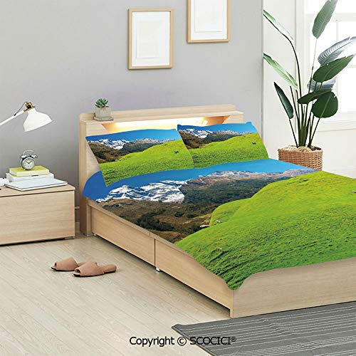 SCOCICI Nature Bedding Sets 3 Pieces(1 Duvet Cover 2 Pillow Shams) Idyllic Hills Mountain Land Farm New Zealand Snowy Peaks Spring Landscape Duvet Cover Sets for Kids/Twin/Single All Seasons