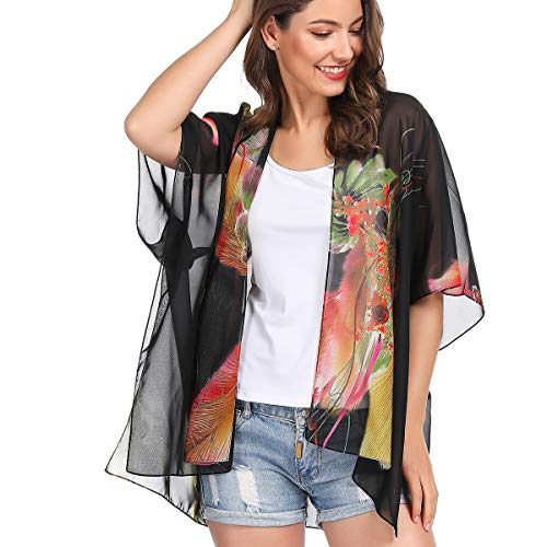 (Women Kimono Cardigan Floral Printed Casual Loose Beachwear Cover ups Tops(Colour31))