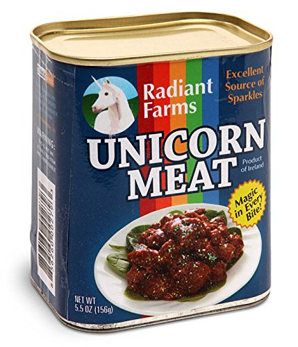 ThinkGeek Easy-Open Canned Unicorn Meat: Excellent Source of Sparkles, Magic in Every Bite, 5.5 Ounce - Stuffed Plush Toy