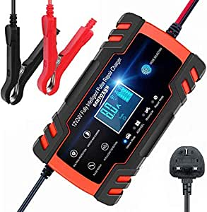 ANEAR Car Battery Charger, 12V 24V Battery Charger & Maintainer, 3-Stage Automatic Trickle Battery Charger Maintainer with Six Functions for Most Types of 2AH-150AH Lead Acid Batteries