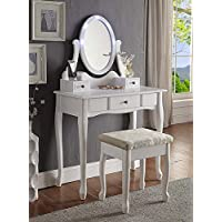 3-Piece Wood Make-Up LED Light Mirror Vanity Dresser Table and Stool Set, White
