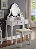 white makeup vanity table with drawers 3-Piece Wood Make-Up LED Light Mirror Vanity Dresser Table and Stool Set, White