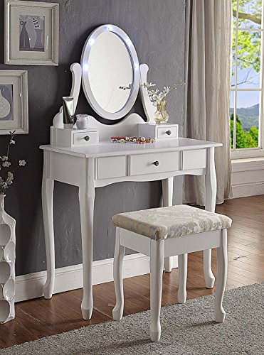 3-Piece Wood Make-Up LED Light Mirror Vanity Dresser Table and Stool Set, White (Mirror With And Desk Lights)