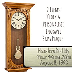 Qwirly 2-Item Bundle: Hermle Timberlake Quartz Regulator Wall Clock 70732I9Q in Oak & Personalized Engraved Brass Plaque for Wedding, Anniversary or Employee Retirement