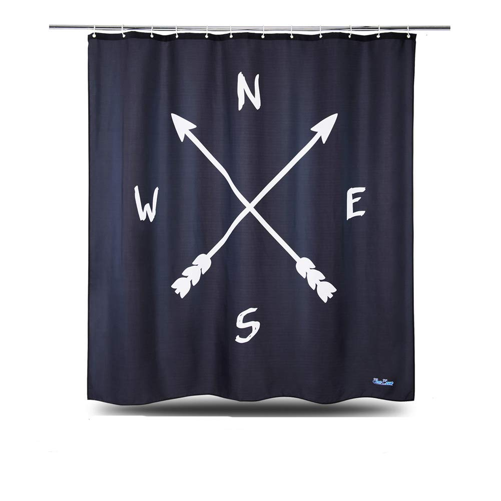 WUFAY Black Fabric Shower Curtain 2018 New White and Black Abstract Shower Curtain Set for Home and Hotel Including 12 Hooks, Heavy-Duty Waterproof Fabric,Mildew Ressitant(72x72 inch)