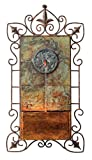 Ibizi Faux Slate and Iron Leaf Medallion 33''H Wall Fountain
