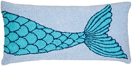 C F Home Mermaid Tail Hooked Pillow 12 x 24 Blue