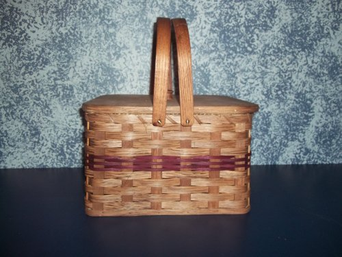 (Amish Handmade Square Double Pie Basket with Wood Tray and Lid. Two Wooden Handles. A Beautiful and Well Constructed Basket Made Especially to Transport Those Delicate Homemade Pies Safely. Sitting Out on Your Cabinet or Dining Table This Basket Adds Just the Right Touch to Your Country Kitchen Decor. This Handmade Basket Has Many Uses Beyond Carrying Pies In. Colors May Vary (Brown, Black, Red, Blue, Green, Purple, Burgundy, Natural))