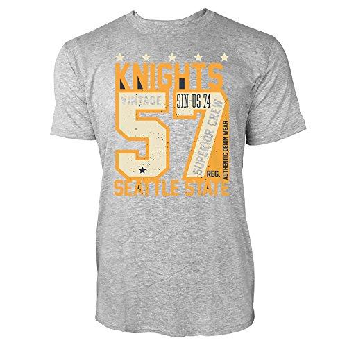 Sinus Art ® Herren T Shirt Knights 57 Varsity Guardians Denim ( Heather_Grey ) Crewneck Tee with Frontartwork