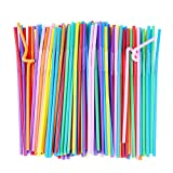 Flexible Plastic Drinking Straws, Extra Long Disposable Bendy Party Fancy Straws, Pack of 200