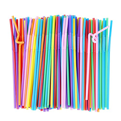 (ALINK Flexible Plastic Drinking Straws, Extra Long Disposable Bendy Party Fancy Straws, Pack of 200)