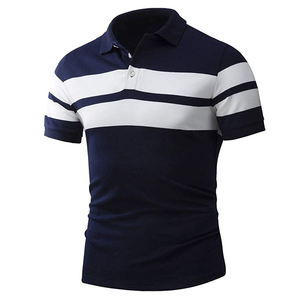 Donci Summer Slim Comfort Daily New Mens Tees Lapel Button Stripe Polyester Short Tops Fashion Polo T Shirt