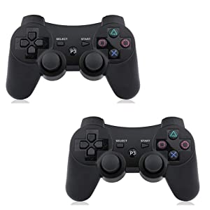 PS3 Controller Wireless 2 Pcs Double Shock Gamepad for Playstation 3, Six-axis wireless PS3 Controller with Charging Cable by Bowei (Color: Black + Black)