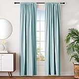 AmazonBasics Room Darkening Blackout Window Curtains with Tie Backs Set, 42' x 96', Seafoam Green