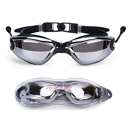 Baen Sendi Swimming Goggles with Siamese Ear Plugs - UV Protection Anti Fog - Best Adult Swim Goggles (Black)