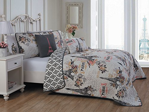 Avondale Manor Cherie 5-piece Quilt Set, Queen, Coral ()