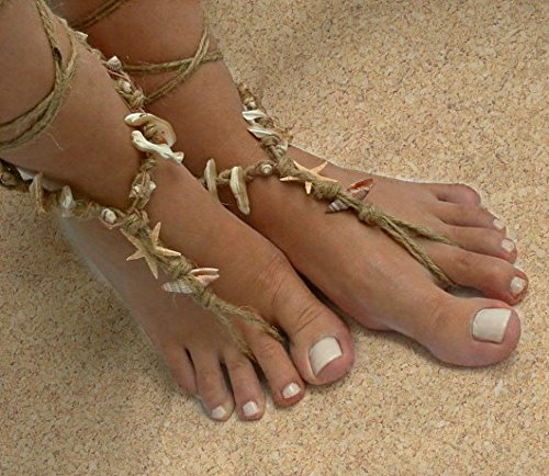 Beach Barefoot Sandals, seashell starfish native boho, Beach wedding, anklet hippie shoes, Mermaid sandles.