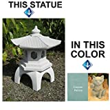 "Cement PAGODA Lantern 16""H, 3-piece BLUE-GREEN STAIN CONCRETE Outdoor Garden Statue"