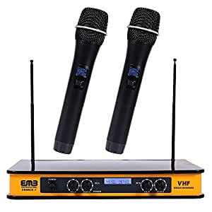 emb ebm60e yellow vhf dual wireless handheld microphone system with echo feature. Black Bedroom Furniture Sets. Home Design Ideas